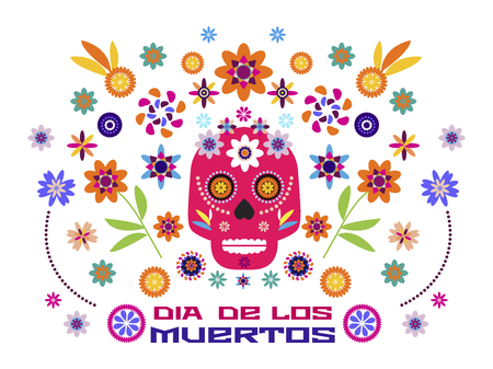 Dia de Los Muertos, Day of the Dead or Halloween greeting card, invitation, banner.Sugar skulls and colorful flowers. Template  for mexican celebration, traditional mexico skeleton decoration. Vector illustration.