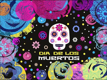 Dia de Los Muertos, Tag der Toten oder Halloween-Grußkarte, Einladung, Banner. Zuckerschädel und bunte Blumen. Vorlage für mexikanische Feier, traditionelle mexikanische Skelettdekoration. Vektorillustration.