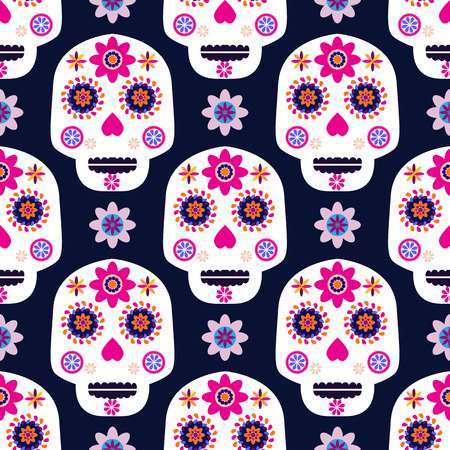 Mexican seamless pattern,sugar skulls and colorful flowers. Template  for mexican celebration, traditional mexico skeleton decoration. Dia de Los Muertos, Day of the Dead Illustration
