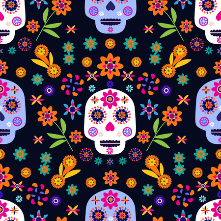Mexican seamless pattern,sugar skulls and colorful flowers. Template  for mexican celebration, traditional mexico skeleton decoration. Dia de Los Muertos, Day of the Dead . Illustration
