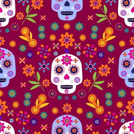 Mexikanisches nahtloses Muster, Zuckerschädel und bunte Blumen. Vorlage für mexikanische Feier, traditionelle mexikanische Skelettdekoration. Dia de Los Muertos, Tag der Toten.
