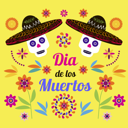 Dia de Los Muertos, Day of the Dead or Halloween greeting card, invitation, banner.Sugar skulls and colorful flowers. Template  for mexican celebration, traditional mexico skeleton decoration. Illustration