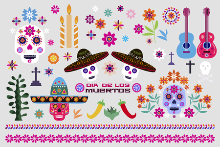 Dia de Los Muertos, Day of the Dead or Halloween big set elements. Sugar skulls , pepper, guitars, candle and colorful flowers. Template for mexican celebration, traditional mexico skeleton decoration. Vector illustration.