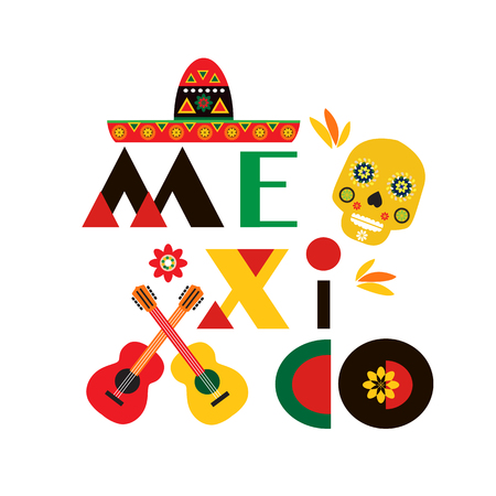 Mexico  poster, greeting card, invitation, banner.Sugar skulls , guitars  and colorful flowers. Template  for mexican celebration, traditional mexico skeleton decoration. Vector illustration.