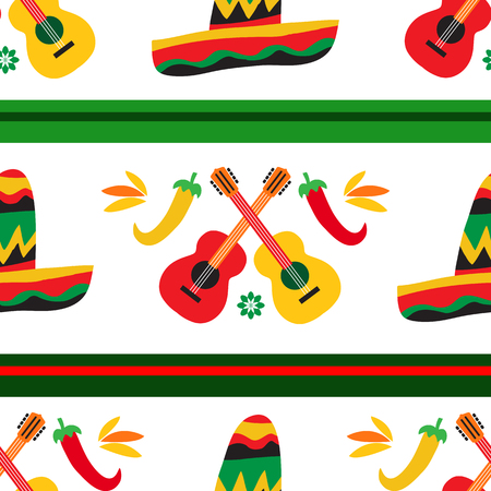 Mexican seamless pattern  with guitars, peppers  and colorful flowers. Template  for mexican celebration, traditional mexico skeleton decoration. Dia de Los Muertos, Day of the Dead .Vector illustration.