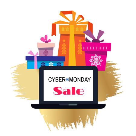 Cyber monday. Sale.  Template banner. Vector illustration. Illustration