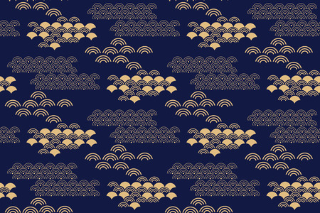 Beautiful japanese seamless pattern with clouds, waves. Japanese, chinese elements. Vector seamless asian texture. For printing on packaging, textiles, paper,fabric,  manufacturing, wallpapers. Standard-Bild - 111791585