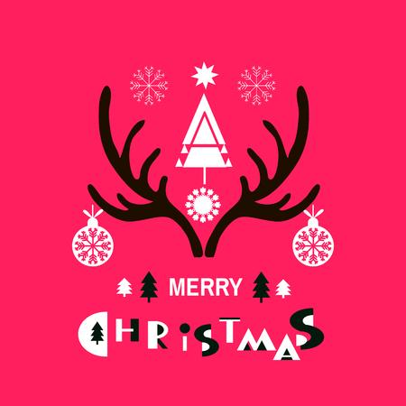 Sjabloon kerstkaart met kerst elementen. Vectorgewei voor uw ontwerp. Feestelijke kerst achtergrond. Uniek winterdesign. Handgetekende elementen. Vectorillustratie. Hand getrokken belettering.