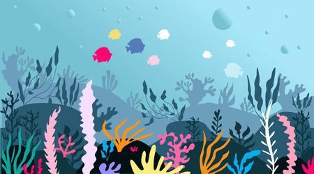 Bunte schöne Unterwasserszene der Karikatur, Unterwasserleben im Meer. Panorama Unterwasser-Meereslandschaft. eine marineblaue untere Silhouette mit Algen, Algen und Korallen. Vektor-Illustration. Vektorgrafik
