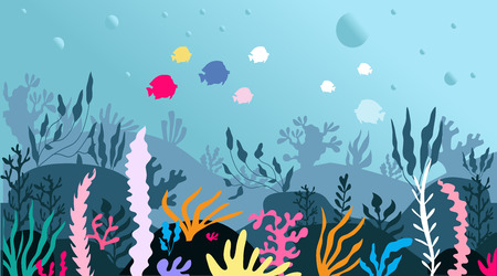 Cartoon colorful  beautiful underwater scene, underwater marine life. Panoramic underwater seascape. a marine sea blue bottom silhouette with seaweed, algae and coral. Vector illustration.