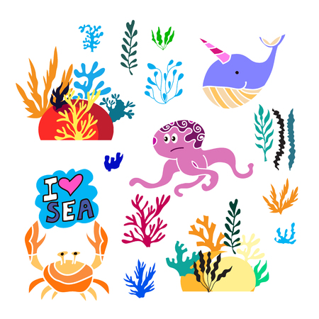 Beautiful big set with differents seaweeds, and sea elements. Cute vector elements in flat cartoon style. For your design, posters, wedding invitation, business products. Vector illustration.