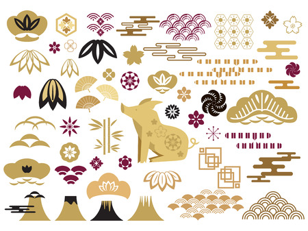 Happy chinese new year, year of the pig.Template banner, poster in oriental style. Big set of japanese, chinese elements. Cloud, wild  boar, pig,  wave, moon, bamboo tree, sakura, and mountain. Vector icon flat  illustration.