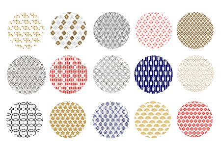 Big set  asian vector icon in oriental flat  style. Japanese, chinese  round elements. Cloud, wave, mandala, flower,   moon, sakura, and  circle. Vector illustration.