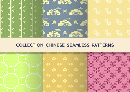 Beautiful japanese seamless patterns set  with clouds, waves. Japanese, chinese elements. Vector seamless asian texture. For printing on packaging, textiles, paper,fabric,  manufacturing, wallpapers. Ilustração
