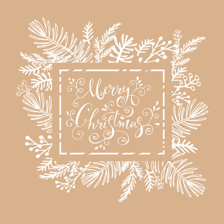 Merry Christmas. Handwriting inscription  with  mistletoe, ,christmas wreath, conifers: fir, larch, juniper, pine, spruce. Unique  hand drawn winter  design  for invitation,  greeting card. Xmas.Vector illustration.