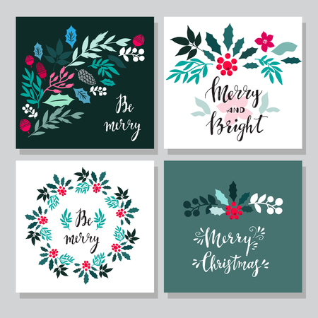 Set of hand drawn christmas cards  with snowflake, lettering, christmas wreath, conifers: fir, larch, juniper, pine, spruce  in vector. Unique  hand drawn winter  design  for invitation, poster,  greeting card. Xmas.Vector illustration.