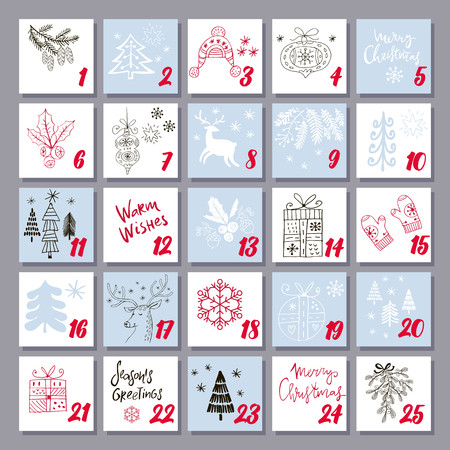 Christmas Advent Calendar with reindeer, mistletoe, tree,snowman and gift. Template poster, banner. Vector  illustration.