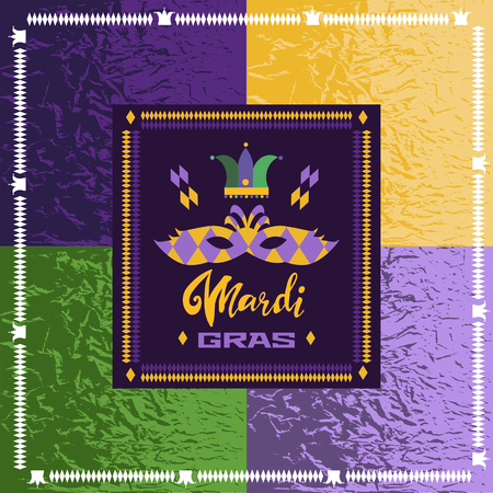 Happy Mardi Gras. Festive multicolor background. Perfect for  invitation, flyers, poster, site backgrounds, wrapping paper and fabric design.  Vector illustration. Illustration