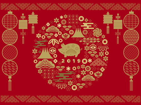 Happy chinese new 2019 year, year of the pig. Pig  - symbol 2019 New Year.Chinese  characters translation: Happy New Year. Template banner, poster in oriental style. Vector illustration. Illustration