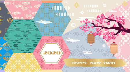 Happy chinese new 2020year, year of the rat.  Chinese  characters translation: Happy New Year. Template banner, poster in oriental style. Japanese, chinese elements. Vector illustration.