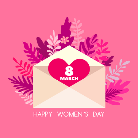 Happy 8 March, International Women's day. Holiday  letter concept. Big envelope with red heart and spring flowers, leaves.  Cute romantic background, banner design in flat cartoon style. Vector.