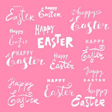 Happy easter nand drawn lettering. Greeting card text templates with Easter bunny. Vector illustration. Иллюстрация