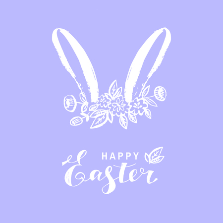 Happy easter nand drawn lettering. Greeting card text templates with Easter bunny. Vector illustration. Ilustracja