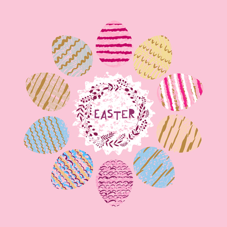 Happy easter nand drawn lettering. Greeting card text templates with Easter eggs. Vector illustration. Ilustracja