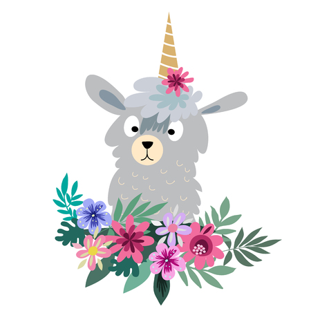 Awesome  cute animal in flat cartoon style. Flower wreath.Make your own magic. Kids illustration for design prints, cards and birthday invitations. Vector illustration.