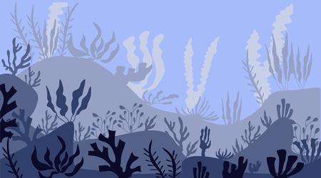 Dessin animé belle scène sous-marine, vie marine sous-marine. Paysage sous-marin panoramique. une silhouette de fond bleu marine avec des algues, des algues et du corail. Illustration vectorielle.