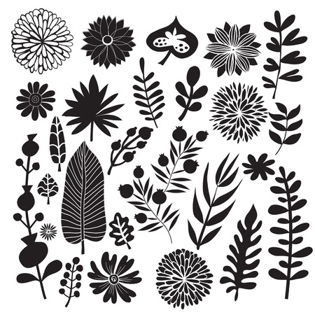 Big set of flowers and herbs. Vector collection leaf. Hand Drawn vintage floral elements.Perfect for wedding invitations and birthday cards.Universal templates collection for trendy design. Иллюстрация