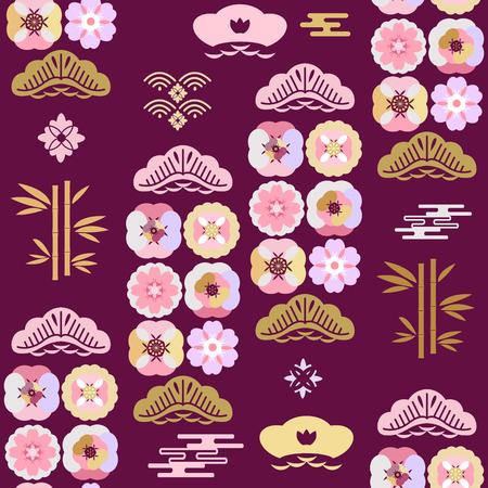 Schönes japanisches nahtloses Muster mit Kirschblüte-Blumen, Wolken, Wellen. Japanische, chinesische Elemente. Vector asiatische Textur. Für den Druck auf Verpackungen, Textilien, Papier, Stoff, Herstellung, Tapeten. Vektorgrafik