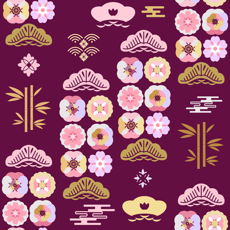 Beautiful japanese seamless  pattern with sakura flowers, clouds, waves. Japanese, chinese elements. Vector asian texture.For printing on packaging, textiles, paper, fabric,  manufacturing, wallpapers.