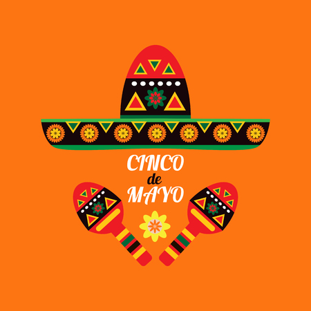 Cinco De Mayo colorful template  poster design. Perfect  for your holiday celebration at a bar, restaurant, nightclub or other venue.Vector illustration. Ilustração