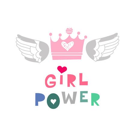 Iscrizione di potere della ragazza in stile cartone animato. Slogan motivazionale della donna. Modello di movimento per l'empowerment delle donne. Iscrizione per magliette, poster, cartoline. Illustrazione vettoriale.