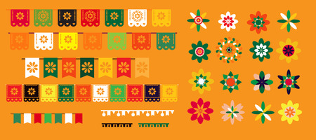 Cinco de Mayo mexican  big  set elements. Garland, sombrero,  maracas,  sugar skulls , pepper, guitars, candle and colorful flowers. Template  for mexican celebration, traditional mexico skeleton decoration. Vector illustration. Illustration