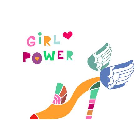 Girl power  lettering in cartoon style. Woman motivational slogan. Women empowerment movement pattern. Inscription for t shirts, posters, cards. Vector illustration. Ilustração