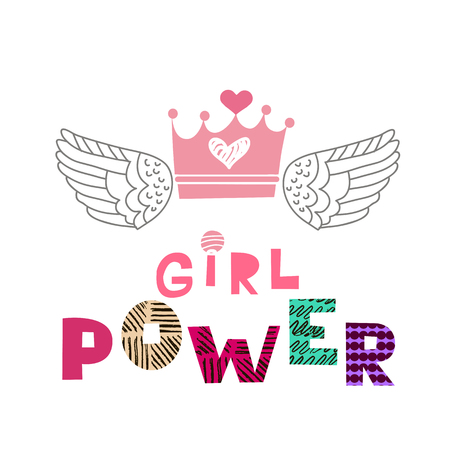 Girl power  lettering in cartoon style. Woman motivational slogan. Women empowerment movement pattern. Inscription for t shirts, posters, cards. Vector illustration. Illustration