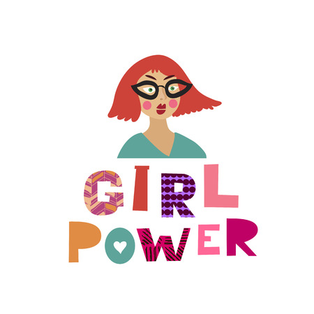 Girl power  lettering in cartoon style. Woman motivational slogan. Women empowerment movement pattern. Inscription for t shirts, posters, cards. Vector illustration. Vettoriali