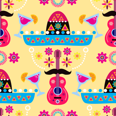 Happy Cinco de Mayo. Festive colorful template seamless pattern with sombrero, guitar and flowers, . Perfect for your holiday celebration design, textile, fabric. Vector illustration.