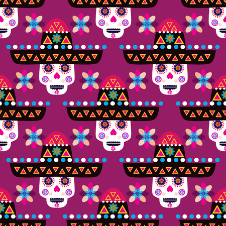Mexican seamless pattern,sugar skulls and colorful flowers. Template  for mexican celebration, traditional mexico skeleton decoration. Cinco de mayo, Dia de Los Muertos, Day of the Dead .Vector illustration.
