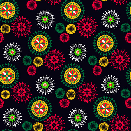Geometric tribal simple round print. Abstract seamless mexican pattern. Colorful abstract texture. Repeating geometric tiles. Vector illustration.