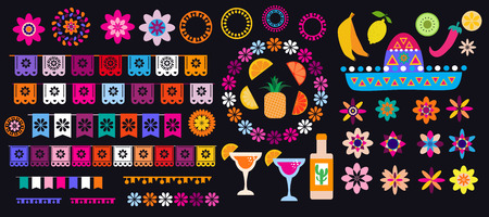 Cinco de Mayo mexican big set elements. Garland, sombrero, maracas, sugar skulls , pepper, guitars, candle and colorful flowers. Template for mexican celebration, traditional mexico skeleton decoration. Vector illustration.