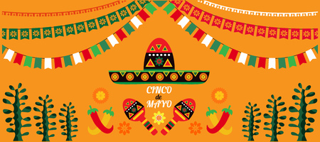 Happy Cinco de Mayo. Festive Cinco De Mayo colorful template  poster design. Perfect  for your holiday celebration at a bar, restaurant, card, nightclub or other venue.Vector illustration.