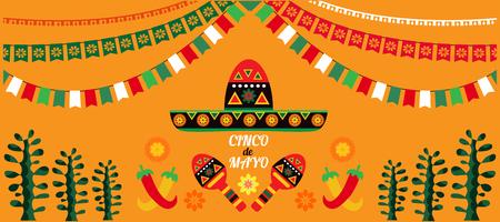 Szczęśliwy Cinco de Mayo. Świąteczny projekt plakatu szablon kolorowy Cinco De Mayo. Idealny na uroczystość świąteczną w barze, restauracji, karcie, klubie nocnym lub innym miejscu.Ilustracja wektorowa.