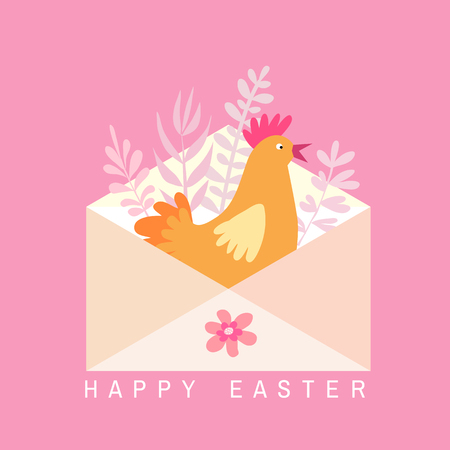 Happy Easter. Holiday  letter concept. Big envelope with  easter chicken and spring flowers, leaves. Cute spring background, banner design in flat cartoon style. Vector. Illustration