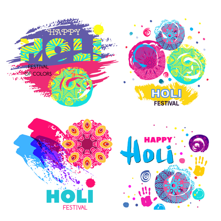 Happy Holi - festival of colors.Traditional Indian festival Holi. Bengali New Year.Template for colorful banner, poster. Holiday of spring. Vector illustration. Illustration