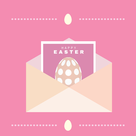 Happy Easter. Holiday  letter concept. Big envelope with  easter egg. Cute spring background, banner design in flat cartoon style. Vector.