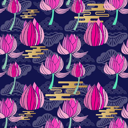 Beautiful seamless pattern with  flowers lotus. Tropical flowers background. Cute vector pink lotus in flat cartoon style. For your design, posters, textile, wedding invitation.  Vector illustration.