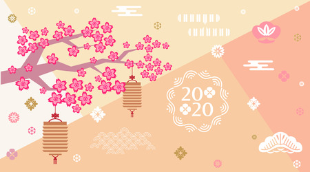 Happy chinese new 2020  year, year of the rat.    Template banner, poster in oriental style. Japanese, chinese elements. Vector illustration. Vectores